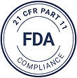 FDA's stamp that explain how QualityKick is a QMS that complies with 21 CFR Part 11.