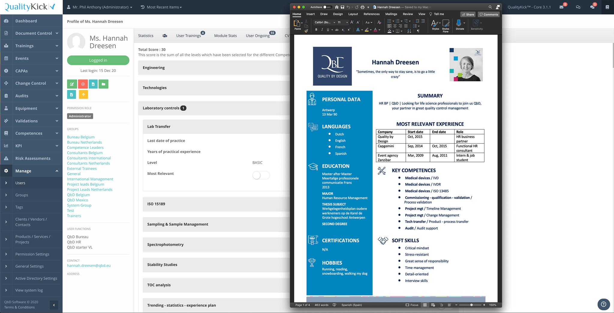 Export CV in MS Word