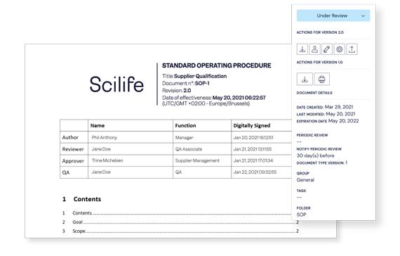 Screenshot of a document view at Scilife Platform