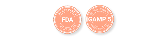 FDA 21 CFR part 11 and GAMP 5 stamps